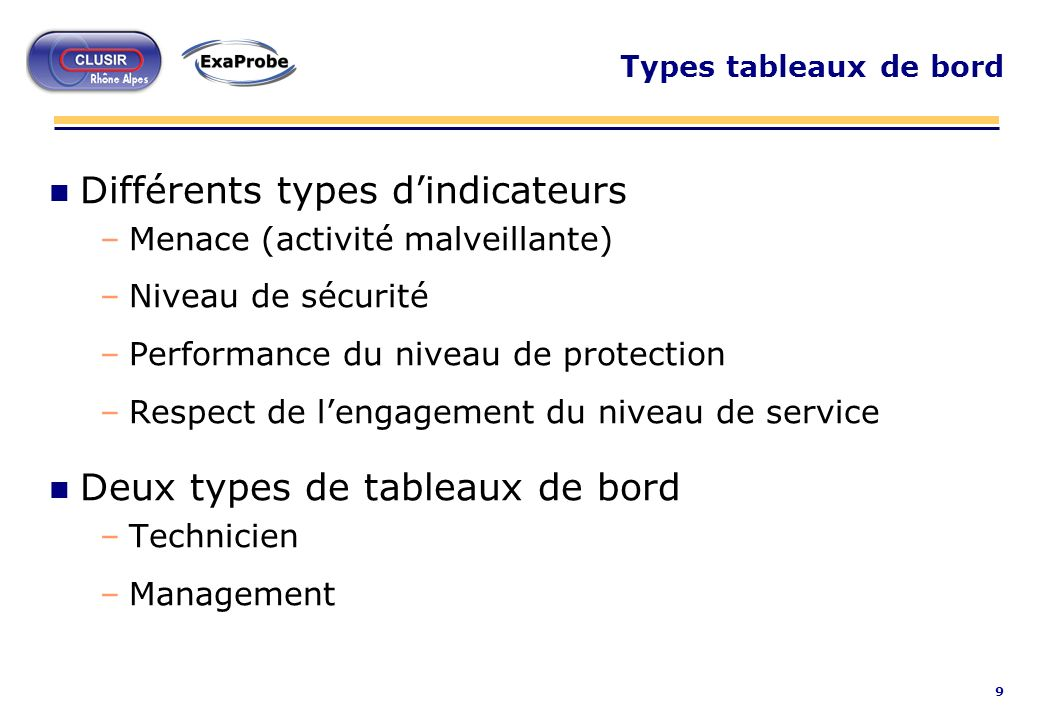 Différents types d'indicateurs