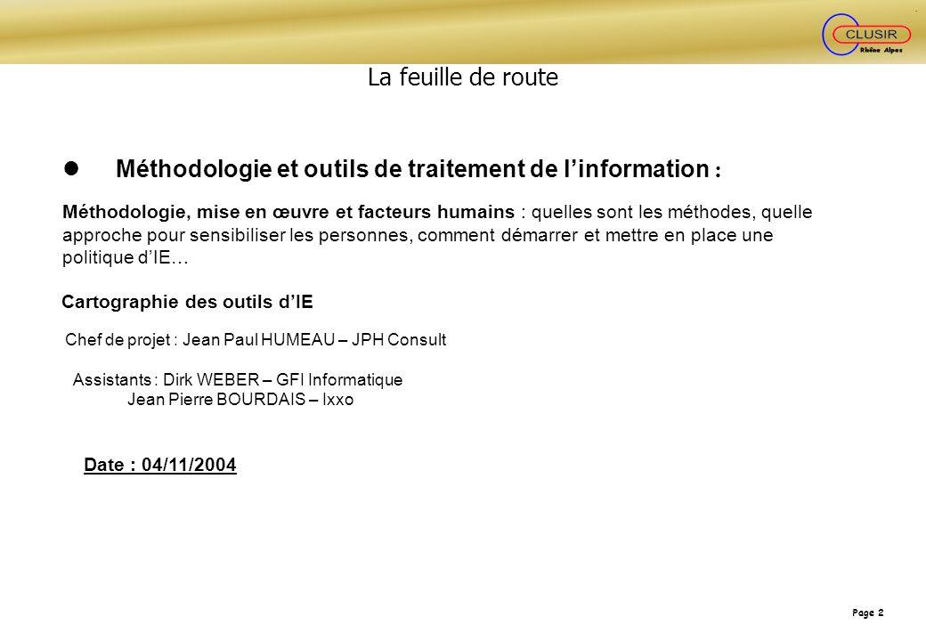 l Méthodologie et outils de traitement de l'information :