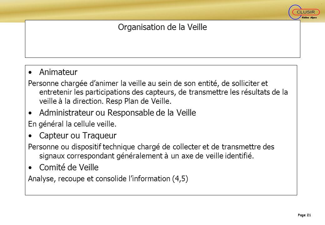 Organisation de la Veille