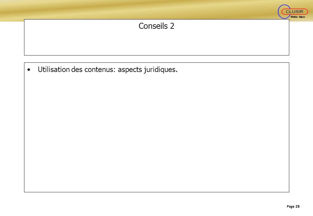 Conseils 2 Utilisation des contenus: aspects juridiques.
