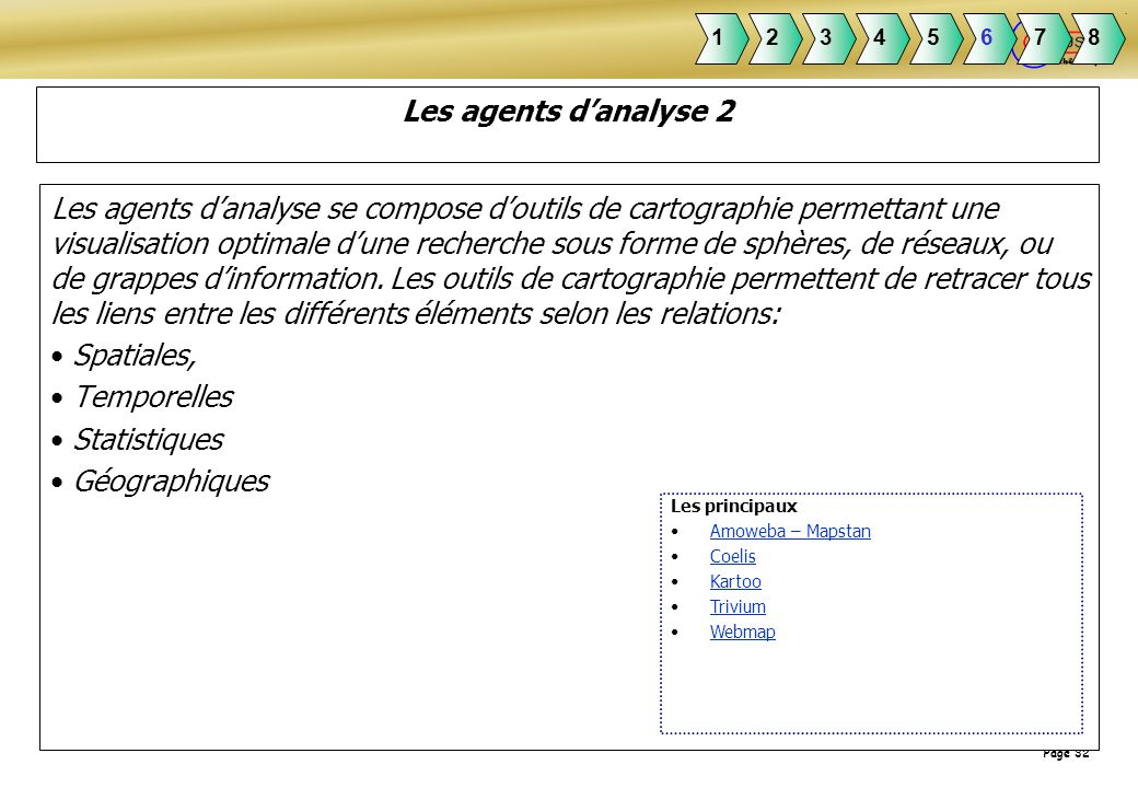 1 2. 3. 4. 5. 6. 7. 8. Les agents d'analyse 2.