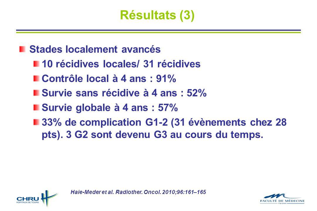 Résultats (3) Stades localement avancés