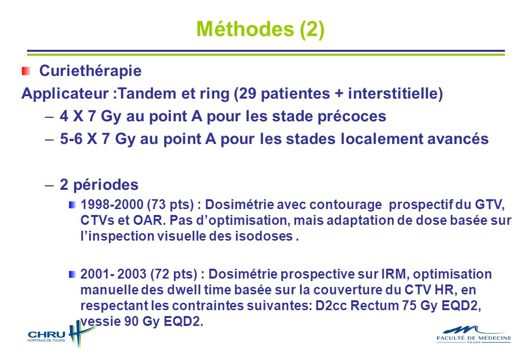 Méthodes (2) Curiethérapie