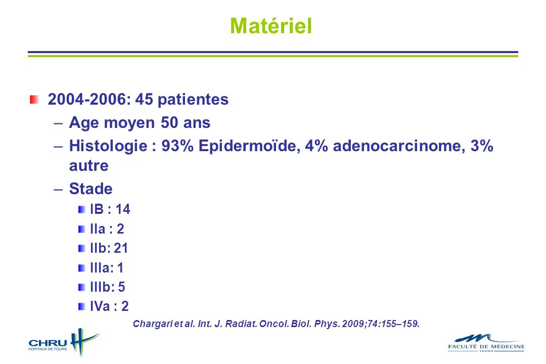 Matériel 2004-2006: 45 patientes Age moyen 50 ans