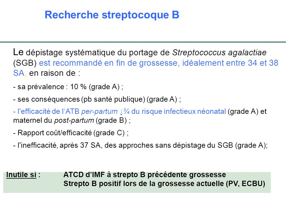 Recherche streptocoque B