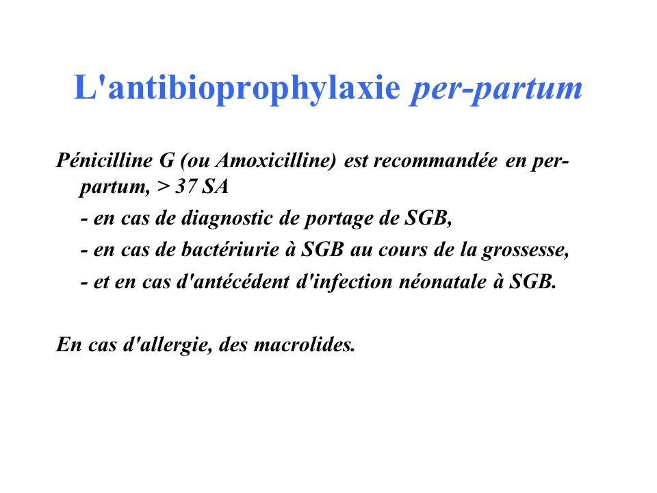 L antibioprophylaxie per-partum