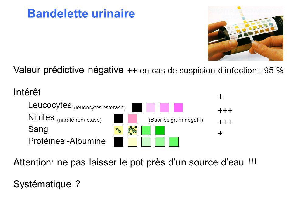 Bandelette urinaire Valeur prédictive négative ++ en cas de suspicion d'infection : 95 % Intérêt. Leucocytes (leucocytes estérase)