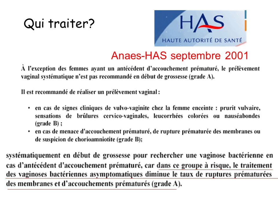 Qui traiter Anaes-HAS septembre 2001