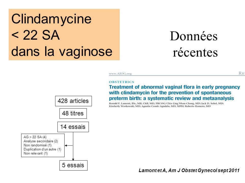 Clindamycine < 22 SA dans la vaginose Données récentes 428 articles