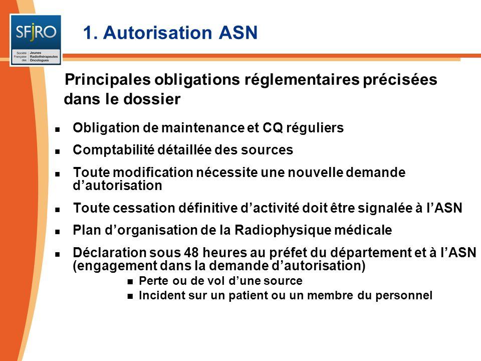 1. Autorisation ASNPrincipales obligations réglementaires précisées dans le dossier. Obligation de maintenance et CQ réguliers.