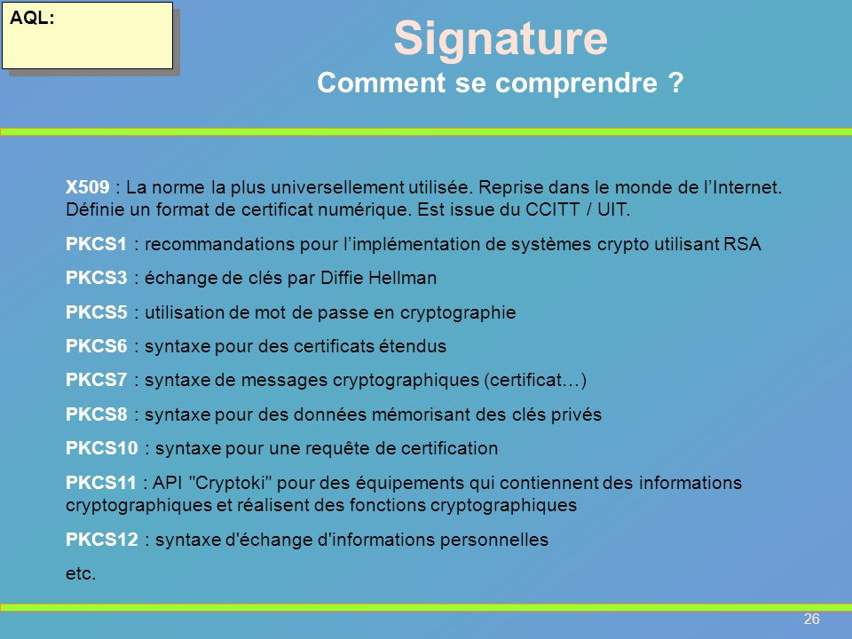 Signature Comment se comprendre AQL: