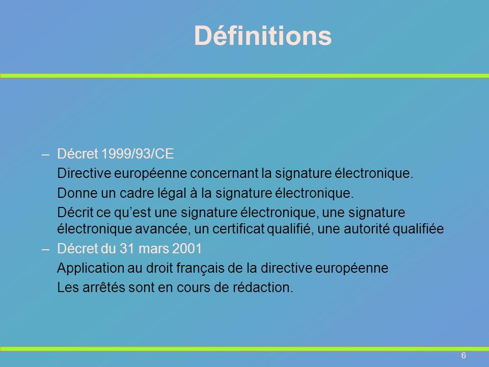 Définitions Décret 1999/93/CE
