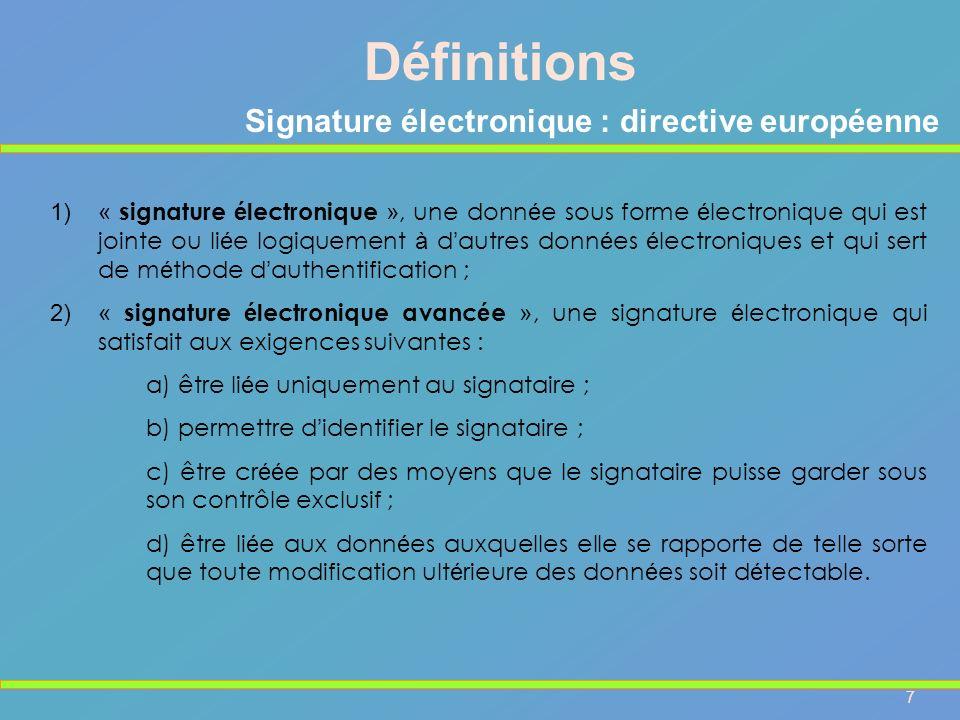 Signature électronique : directive européenne