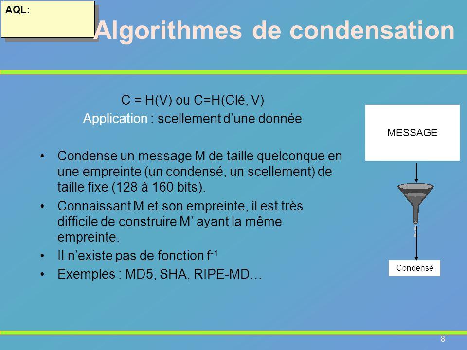 Algorithmes de condensation