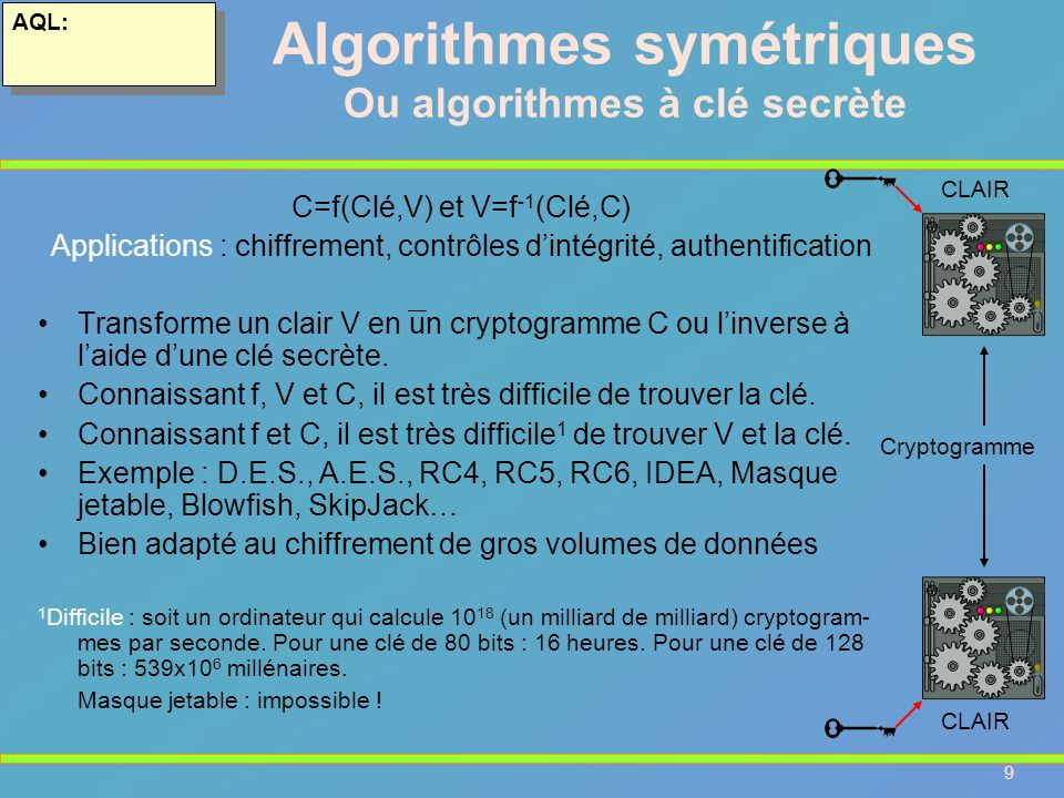 Algorithmes symétriques Ou algorithmes à clé secrète