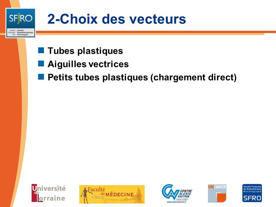 2-Choix des vecteurs Tubes plastiques Aiguilles vectrices