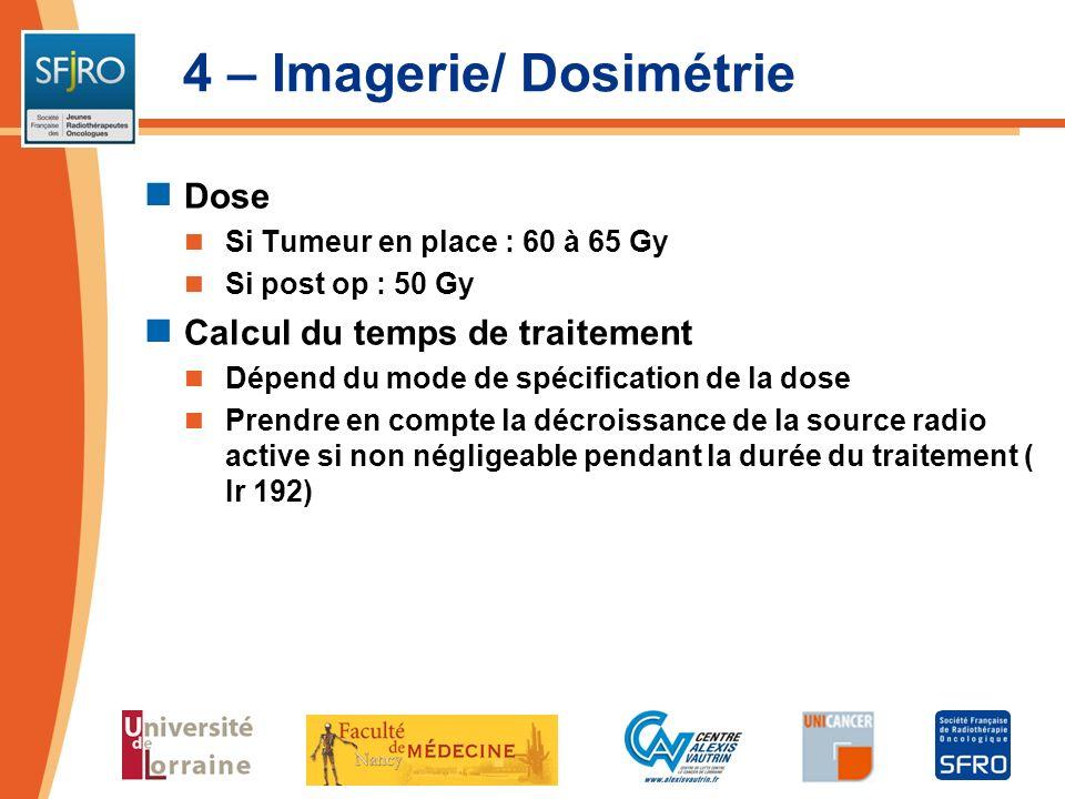 4 – Imagerie/ Dosimétrie