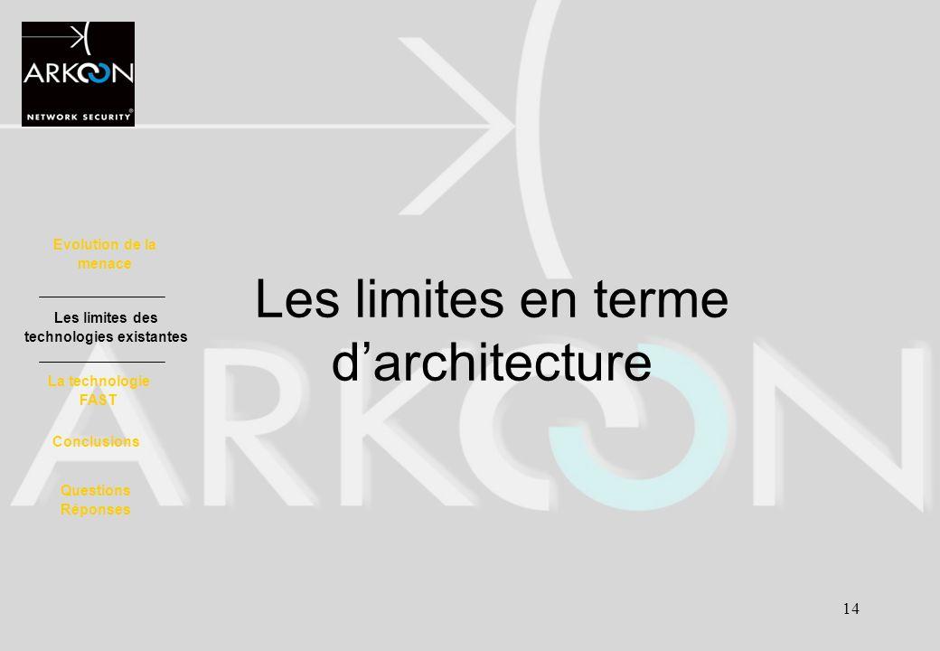 Les limites en terme d'architecture