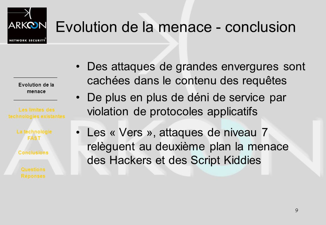 Evolution de la menace - conclusion