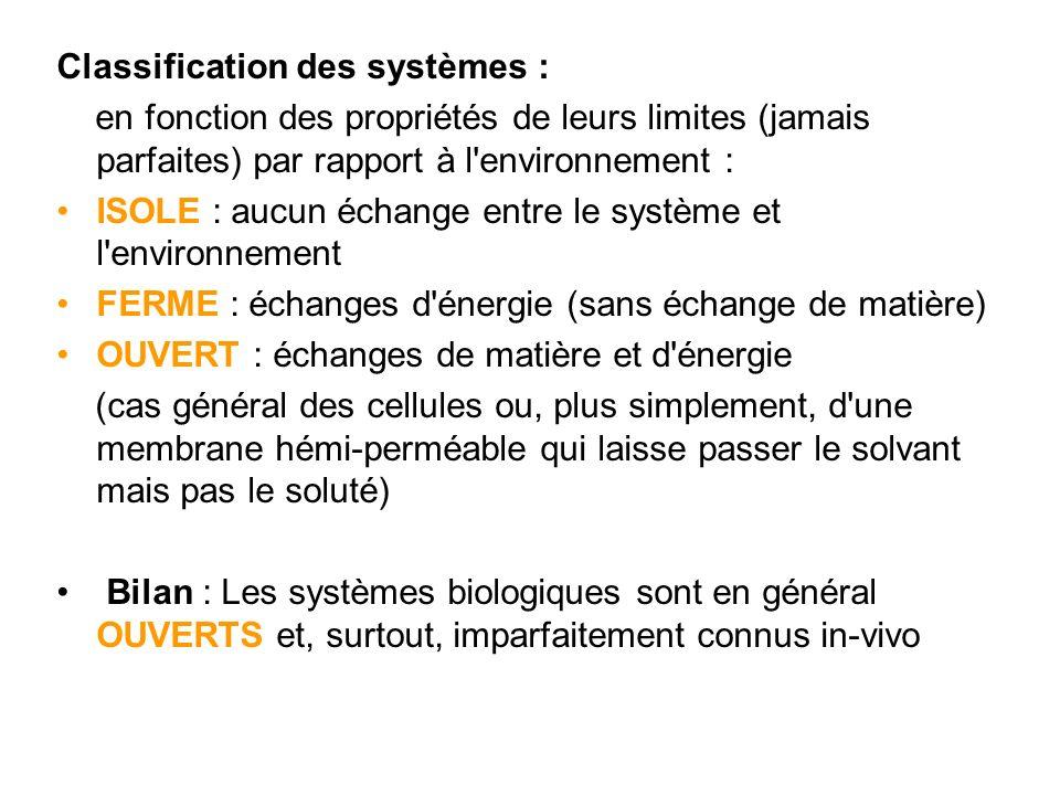 Classification des systèmes :