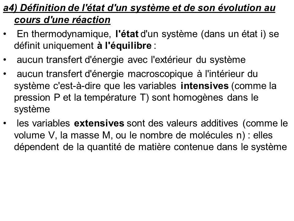 a4) Définition de l état d un système et de son évolution au cours d une réaction