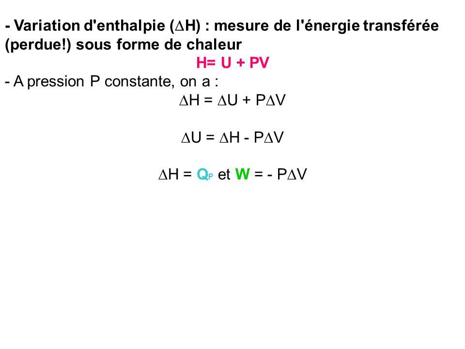 - Variation d enthalpie (DH) : mesure de l énergie transférée (perdue