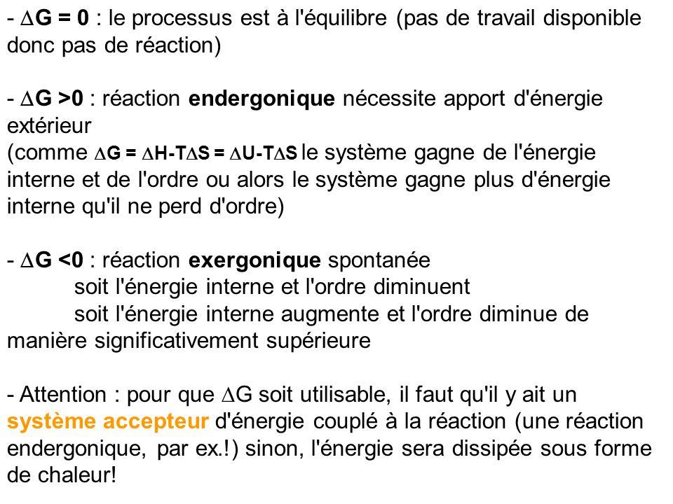 - DG = 0 : le processus est à l équilibre (pas de travail disponible donc pas de réaction)