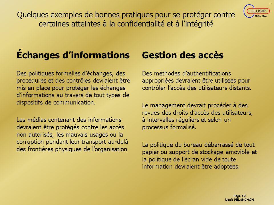 Échanges d'informations Gestion des accès