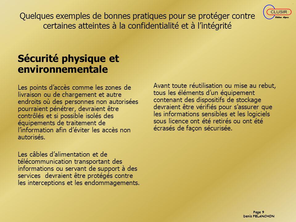 Sécurité physique et environnementale