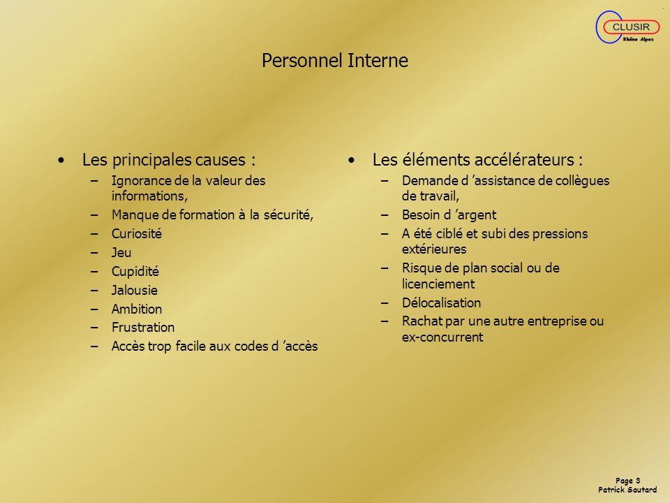 Personnel Interne Les principales causes :