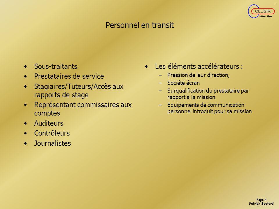 Personnel en transit Sous-traitants Prestataires de service