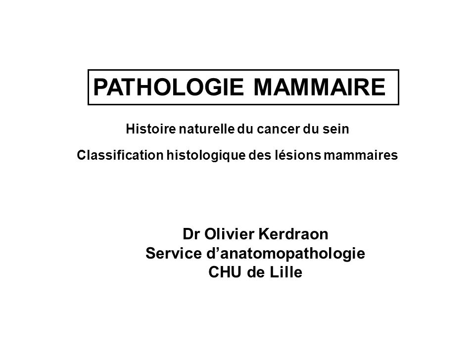 PATHOLOGIE MAMMAIRE Dr Olivier Kerdraon Service d'anatomopathologie