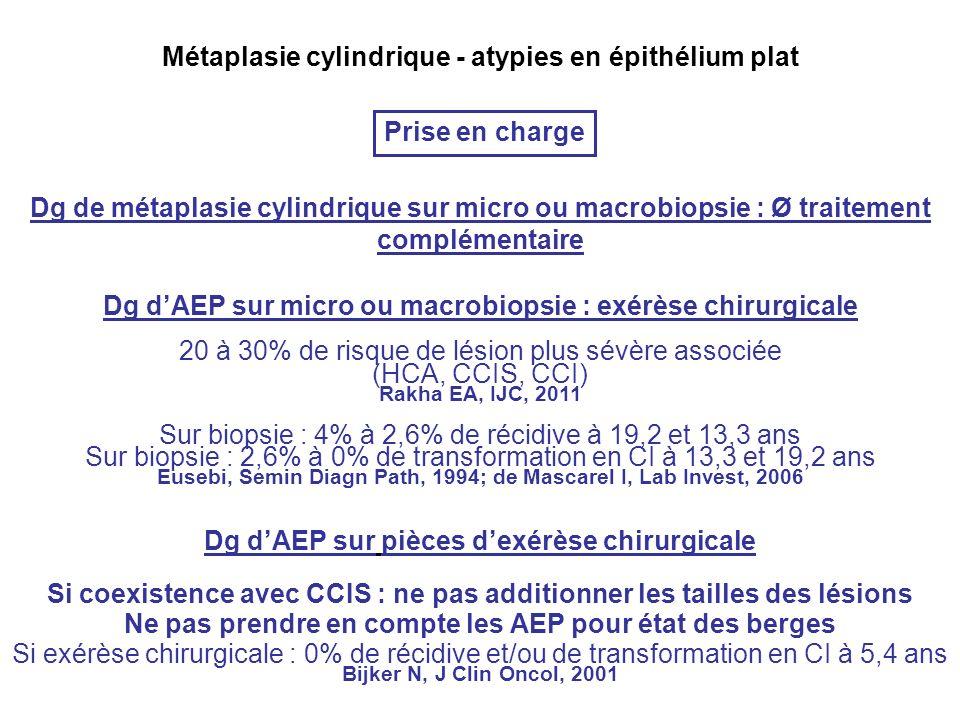 Métaplasie cylindrique - atypies en épithélium plat