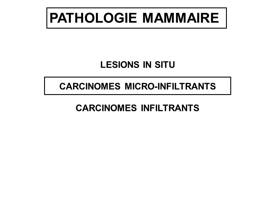 CARCINOMES MICRO-INFILTRANTS CARCINOMES INFILTRANTS