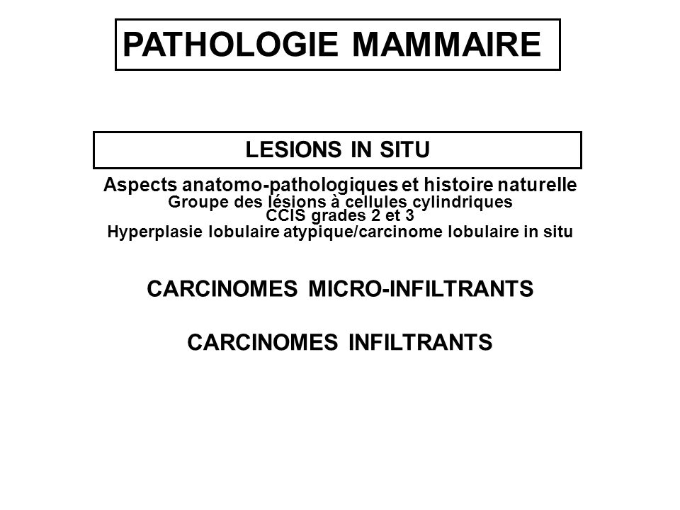 PATHOLOGIE MAMMAIRE LESIONS IN SITU CARCINOMES MICRO-INFILTRANTS