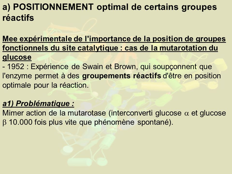 a) POSITIONNEMENT optimal de certains groupes réactifs