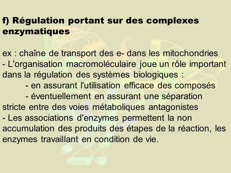 f) Régulation portant sur des complexes enzymatiques