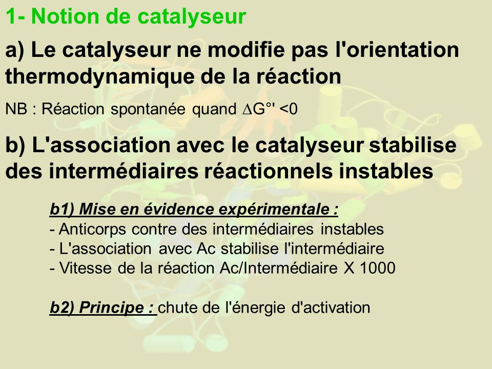 1- Notion de catalyseur a) Le catalyseur ne modifie pas l orientation thermodynamique de la réaction.
