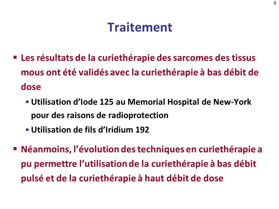 TraitementLes résultats de la curiethérapie des sarcomes des tissus mous ont été validés avec la curiethérapie à bas débit de dose.