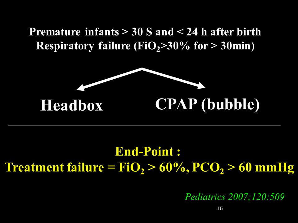 CPAP (bubble) Headbox End-Point :