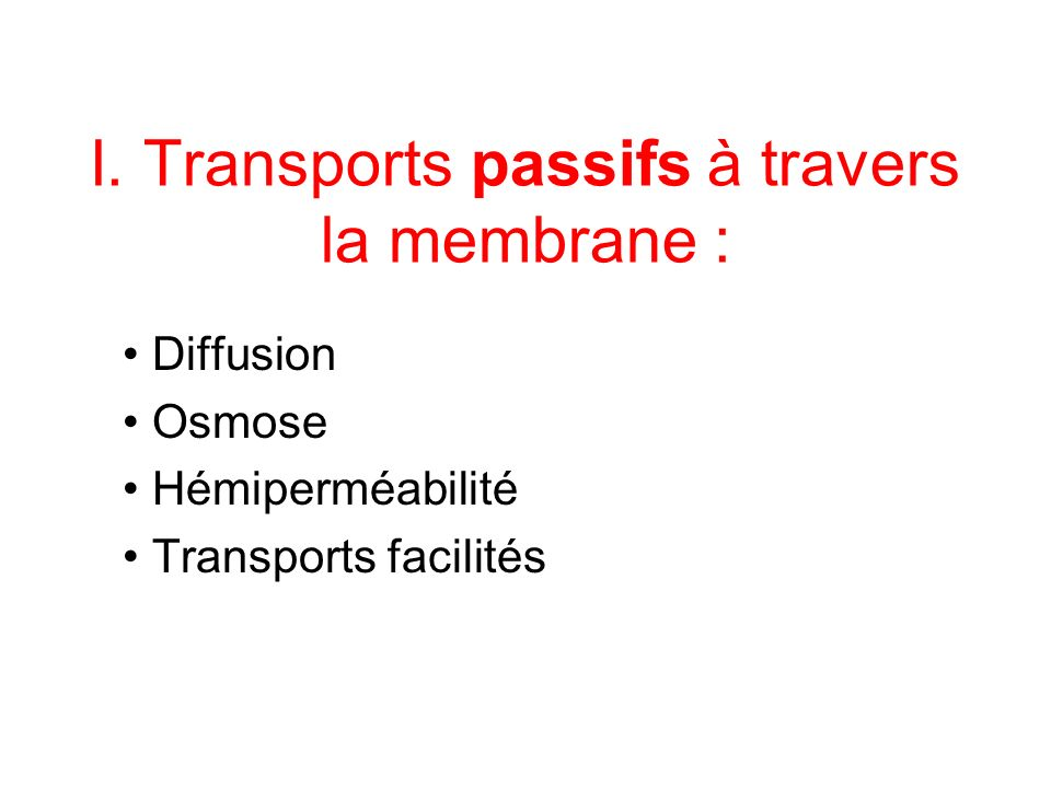 I. Transports passifs à travers la membrane :