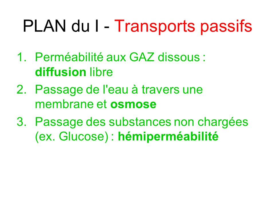 PLAN du I - Transports passifs