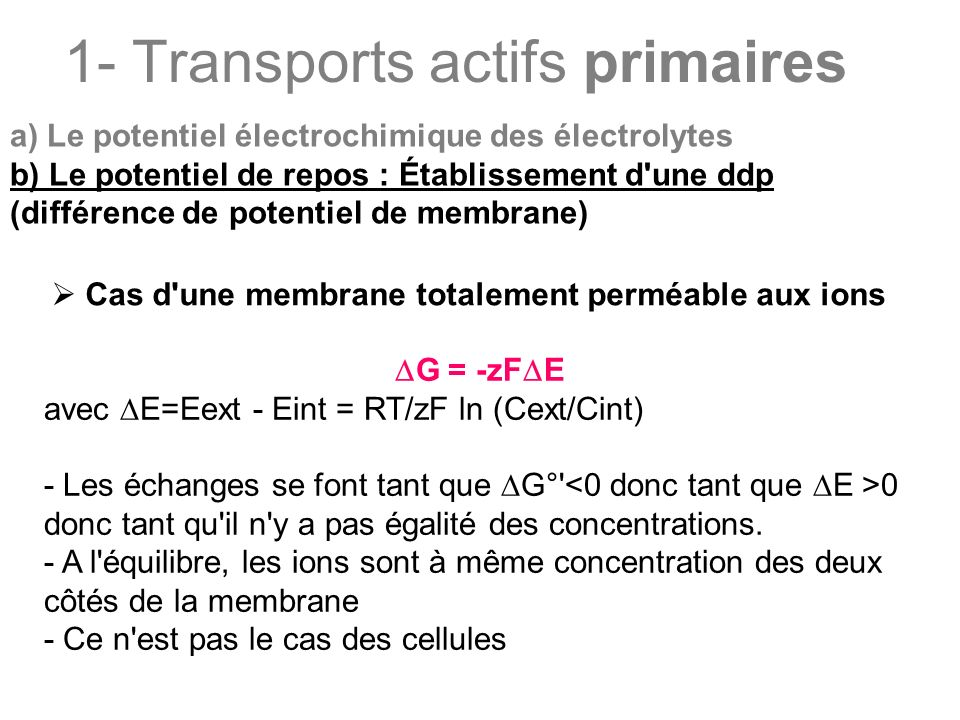 1- Transports actifs primaires