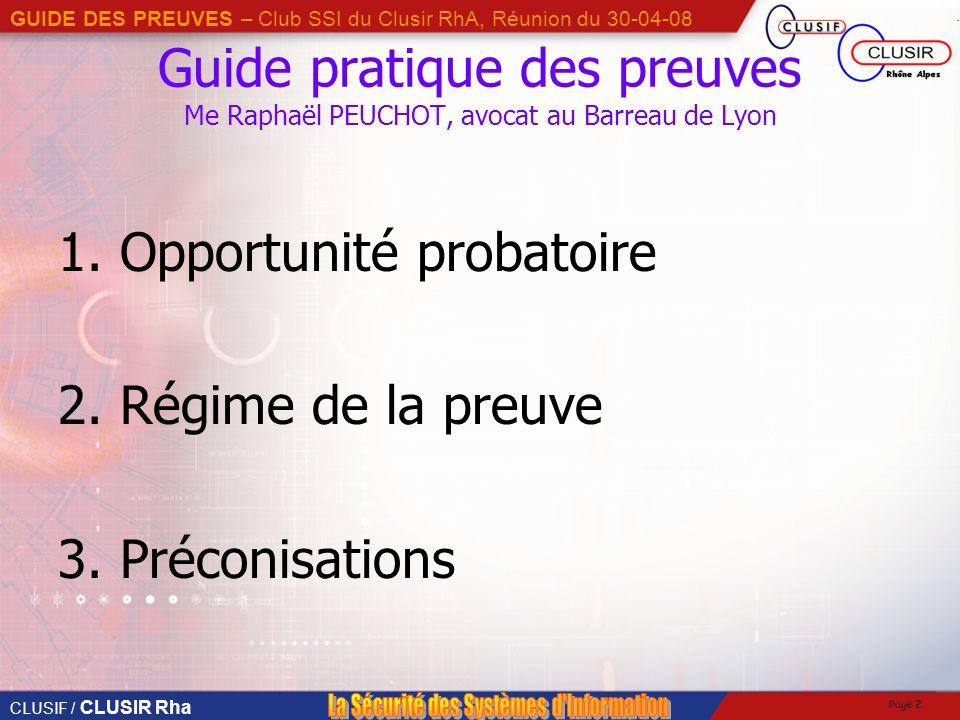 Guide pratique des preuves Me Raphaël PEUCHOT, avocat au Barreau de Lyon