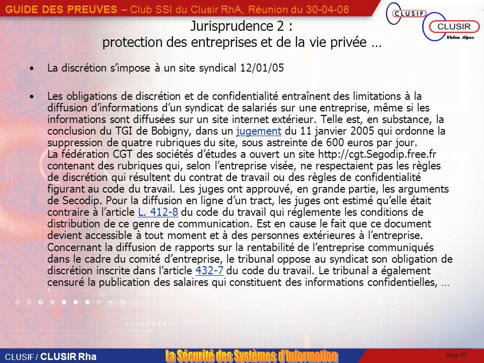 Jurisprudence 2 : protection des entreprises et de la vie privée …