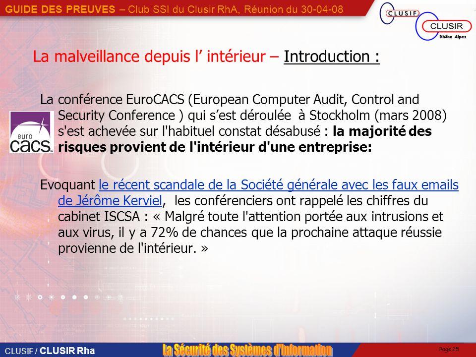 La malveillance depuis l' intérieur – Introduction :