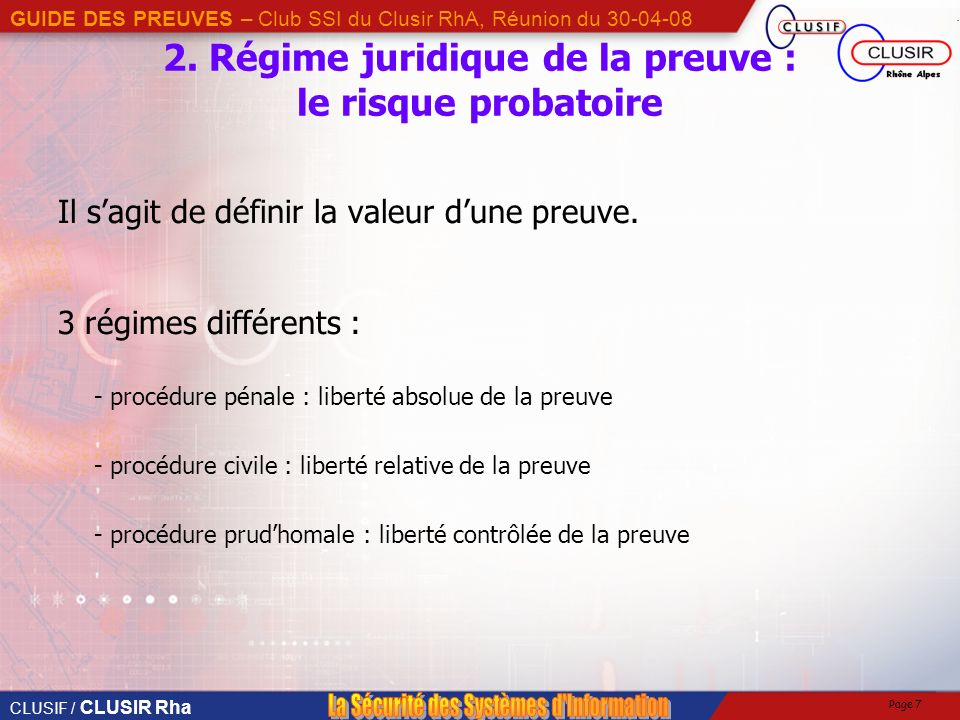 2. Régime juridique de la preuve : le risque probatoire