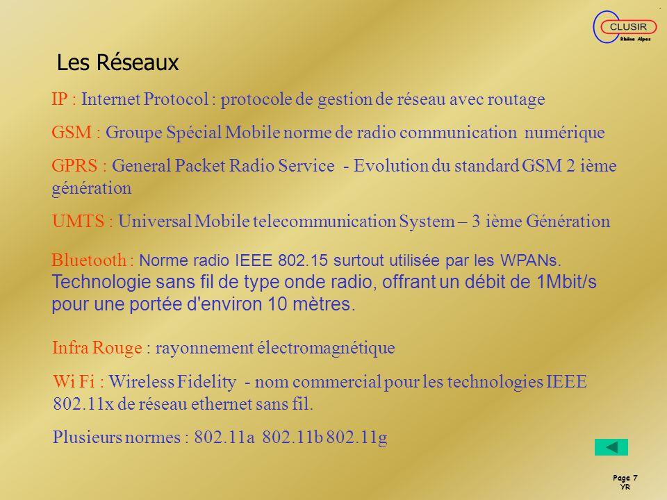 Les RéseauxIP : Internet Protocol : protocole de gestion de réseau avec routage. GSM : Groupe Spécial Mobile norme de radio communication numérique.