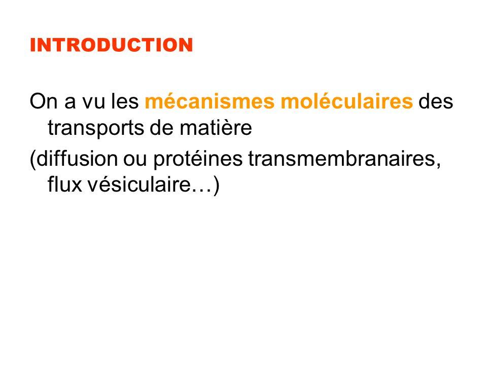 On a vu les mécanismes moléculaires des transports de matière
