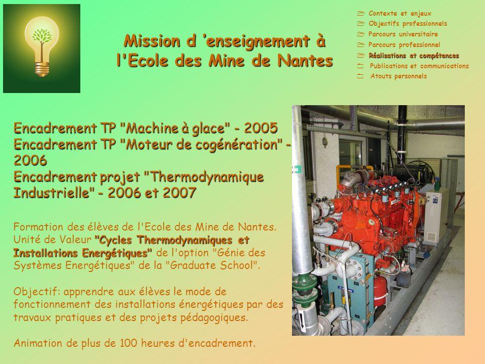 Mission d 'enseignement à l Ecole des Mine de Nantes